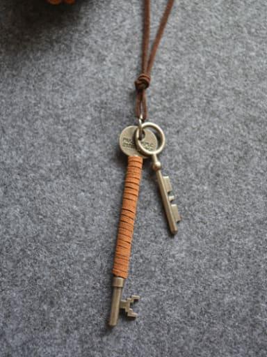 Unisex Double Key Shaped Necklace