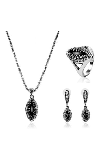 2018 2018 2018 2018 Alloy Antique Silver Plated Vintage style Artificial Stones Oval-shaped Three Pieces Jewelry Set