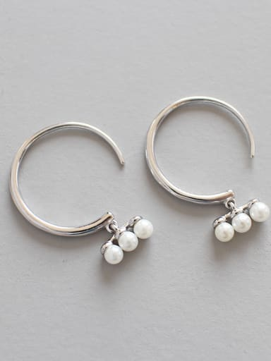 925 Sterling Silver  Imitation Pearl Trendy Round Hoop Earrings