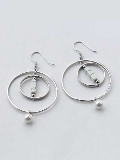 Exaggerated Round Shaped Turquoise S925 Silver Drop Earrings