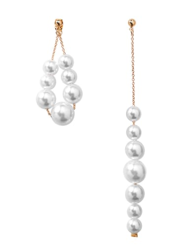 Alloy With Rose Gold Plated Simplistic Asymmetry  Artificial Pearl Drop Earrings