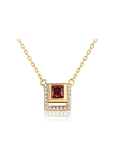 14K Gold Plated Women Square Shaped Necklace