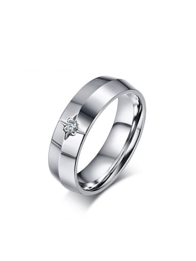 Temperament High Polished AAA Zircon Stainless Steel Ring