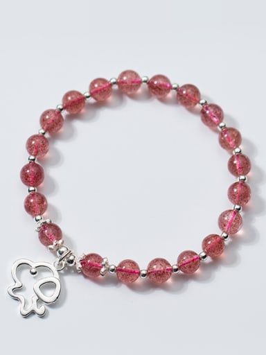 Lovely Dog Shaped Shimmering Crystals S925 Silver Bracelet
