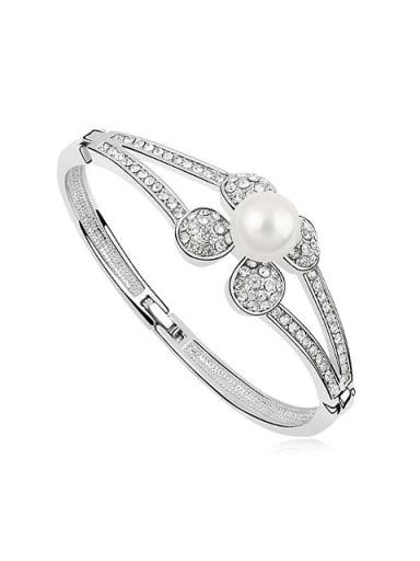 Fashion Imitation Pearl Tiny Crystals Flowery Alloy Bangle
