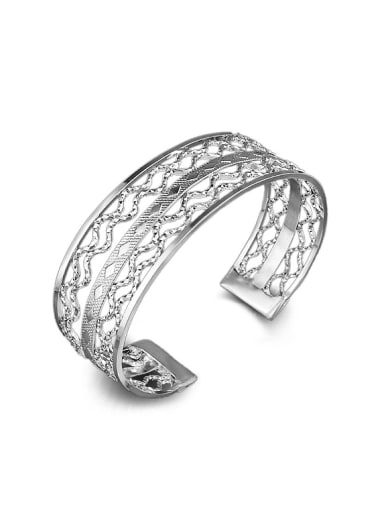 Fashion Hollow Silver Plated Copper Opening Bangle