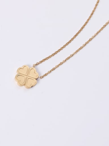 Titanium With Gold Plated Simplistic Four-Leaf Clover  Necklaces