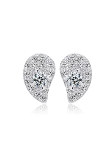 Micro Pave Water Drop Shape Fashion Stud Earrings