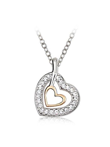 Fashion Austria Crystals Hollow Heart shaped Necklace