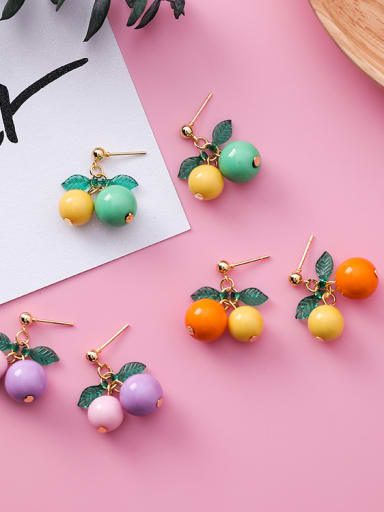 Alloy With Gold Plated Cute Cherry Stud Earrings