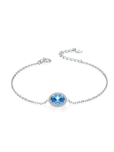 Natural Shining Blue Topaz Simple Fashion Bracelet