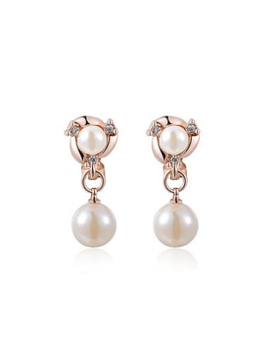 Double Pearl Geometric Shaped No Hole Clip On Earrings