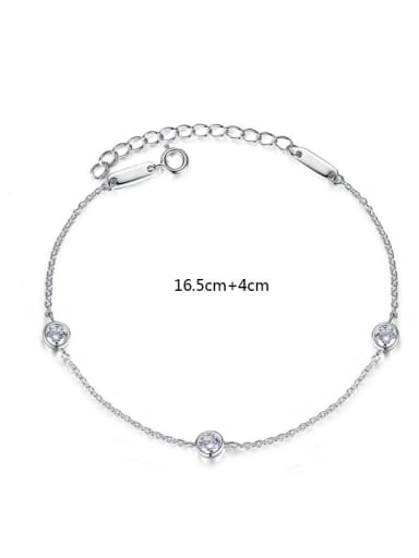 925 Sterling Silver With Platinum Plated Delicate Chain Bracelets