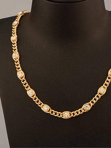 18K Rhinestones Colorfast Necklace