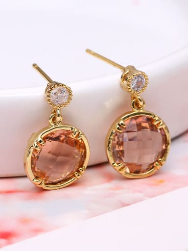 Women Exquisite Round Shaped Glass Earrings
