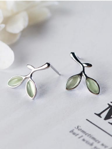 S925 silver fresh green leaves stud cuff earring