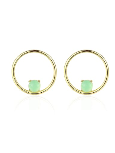 925 Sterling Silver With  Turquoise Simplistic Round Stud Earrings
