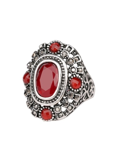 Classical Retro style Ruby Resin stone Alloy Ring
