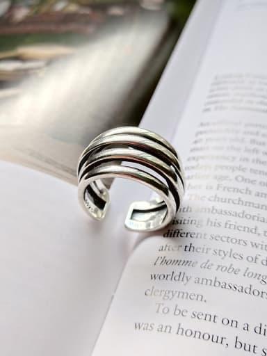 Pure silver retro neutral free size ring