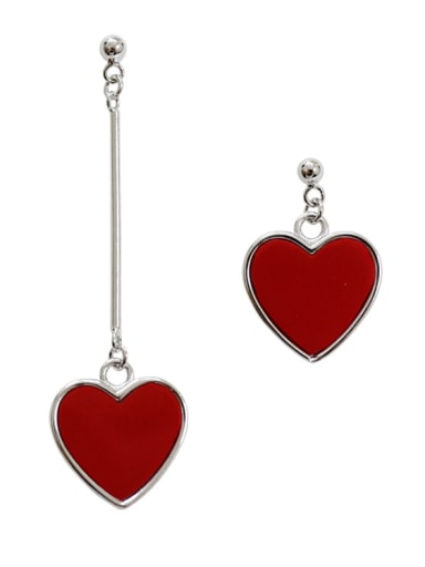 Asymmetrical Red Heart Silver Stud Earrings