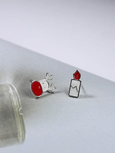 Personalized Tiny Deer Candle 925 Silver Enamel Stud Earrings