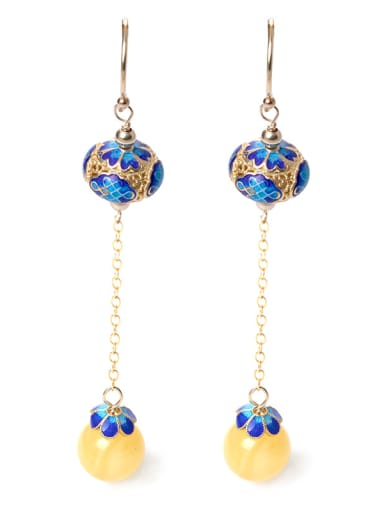 Ethnic style 925 Silver Yellow Stone Bead Enamel Earrings