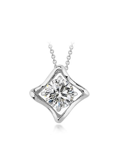 Simple Four-pointed Star Zircon Necklace
