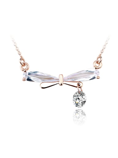 18K Rose Gold Dragonfly Shaped Zircon Necklace