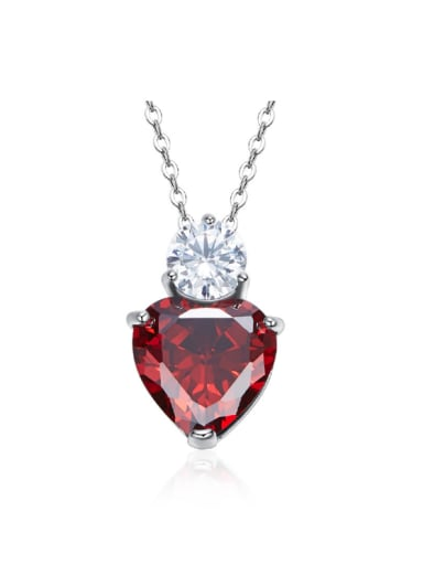 Simple Red Heart Cubic Zircon 925 Silver Necklace