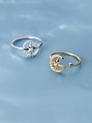 925 Sterling Silver With Rhinestone Cute Moon Star Free Size Rings