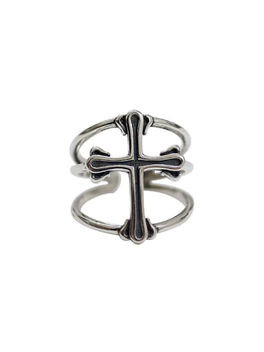 Personalized Three-band Cross Silver Opening Ring