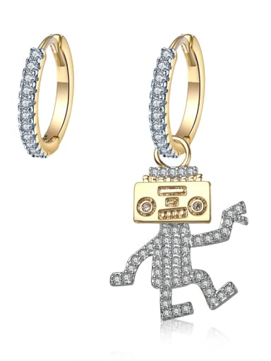 Personality new gold micro-inlay zircons robot asymmetrical studs earring