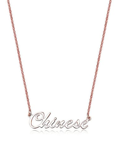 Fashion Titanium Rose Gold Letters Short Necklace