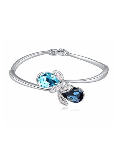 Simple Water Drop Swarovski Crystals Alloy Bangle