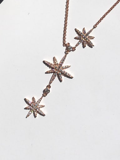 Three Sparking Stars Micro Pave Zircons Stretch  Necklace
