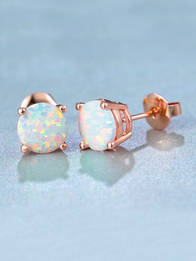 Rose Gold Plated Round stud Earring
