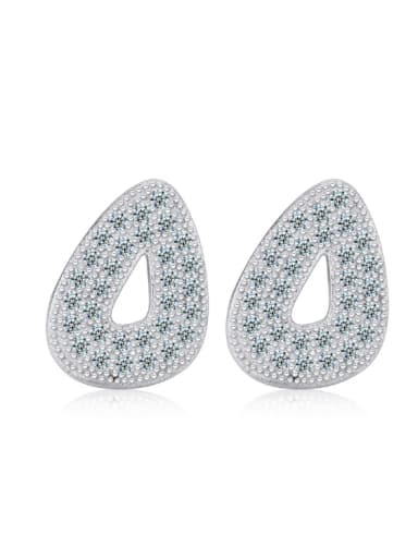 Hollow Water Drop Simple Silver Stud Earrings