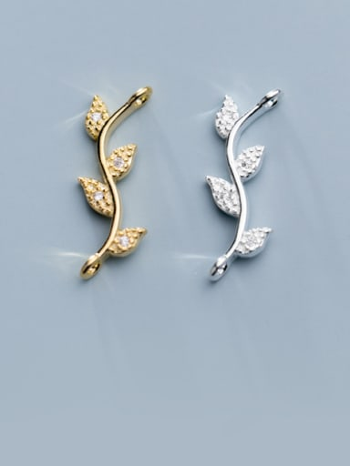 925 Sterling Silver With Gold Plated Simplistic Leaf Charms