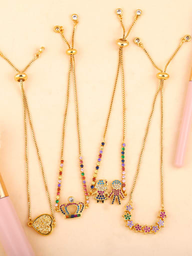 Copper With Cubic Zirconia Fashion Crown heart cross Bracelets