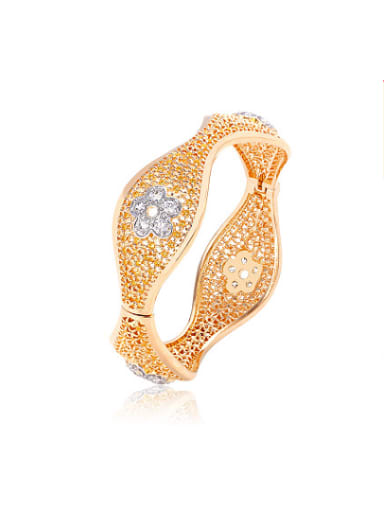 Copper Alloy 18K Gold Plated Vintage Flower Hollow Women Bangle