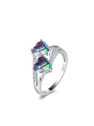 Multi-color White Gold Plated Heart Shaped Stone Ring
