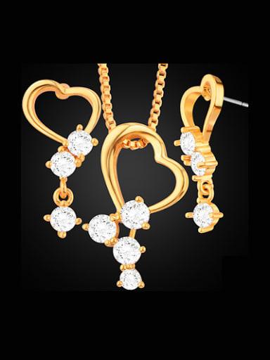 2018 18K Heart shaped Zircon Two Pieces Jewelry Set