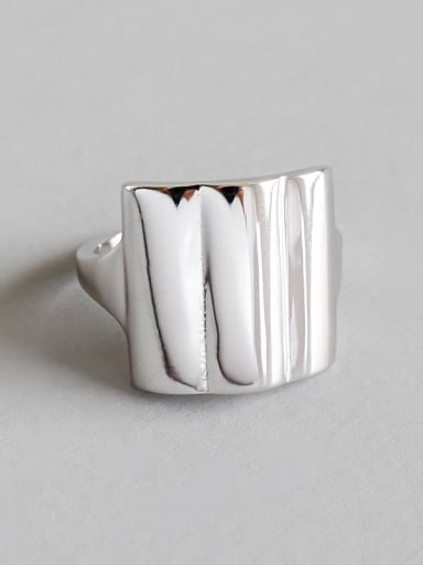 Sterling Silver Square smooth geometry free size Ring
