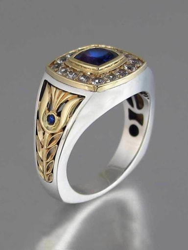 Copper whith Cubic Zirconia   Two-color plating Retro  ring