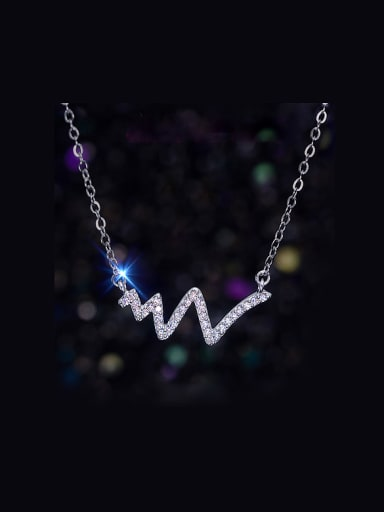 S925 Silver Micro zircon Pendant Fashion Wave Clavicle Necklace