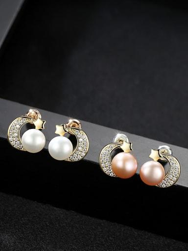 Sterling silver micro-inlay AAA zircon natural pearl star-moon earrings