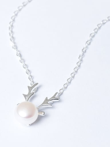 Fashion Freshwater Pearl Deer Antler 925 Silver Necklace