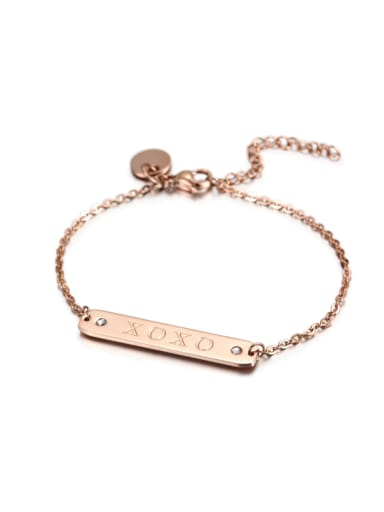 Titanium Steel Rose Gold Letters Stainless Steel Bracelet