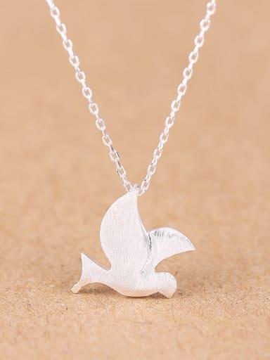 Simple Peace Dove Silver Necklace