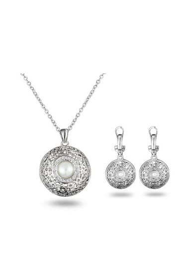 Exquisite Round Shaped Artificial Pearl Two Pieces Jewelry Set
